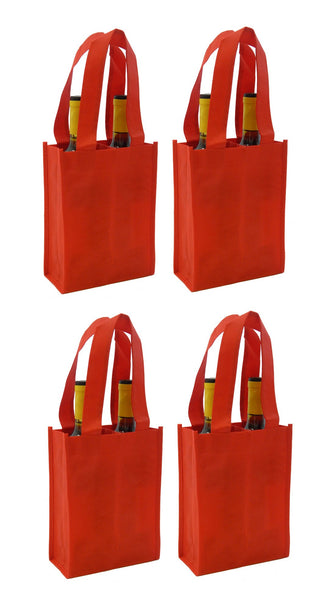 CYMA Reusable Wine Totes - Reusable 2 Bottle Totes Non-Printed- 4 Bag Set- Red