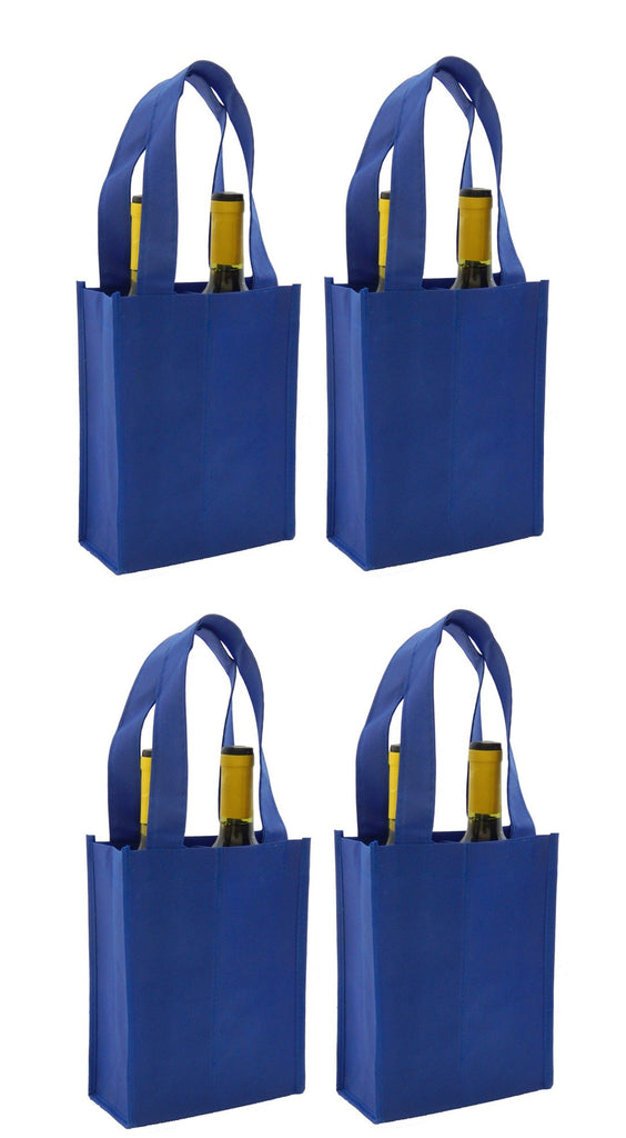 CYMA Reusable Wine Totes - Reusable 2 Bottle Totes Non-Printed- 4 Bag Set- Royal Blue