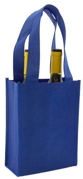 CYMA Reusable Wine Totes - Reusable 2 Bottle Totes Non-Printed-Royal Blue