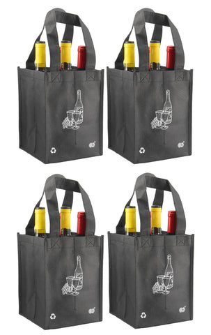 CYMA Reusable Wine Totes - Reusable 4 Bottle Totes- 4 Bag Set