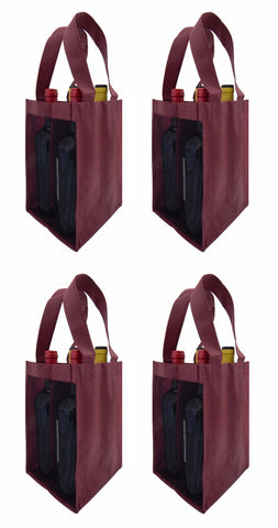 CYMA Reusable Wine Totes - Reusable 4 Bottle Totes Mesh Side Panels- 4 Bag Set- Burgundy