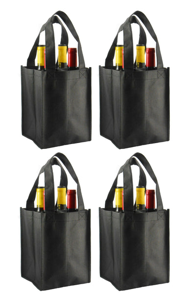 CYMA Reusable Wine Totes - Reusable 4 Bottle Totes Non-Printed- 4 Bag Set- Black