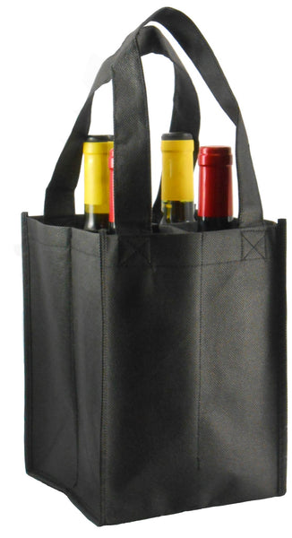 CYMA Reusable Wine Totes - Reusable 4 Bottle Totes Non-Printed-Black
