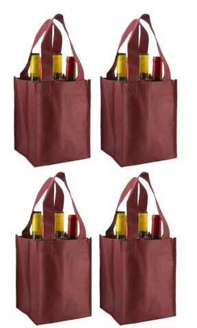 CYMA Reusable Wine Totes - Reusable 4 Bottle Totes Non-Printed- 4 Bag Set- Burgundy
