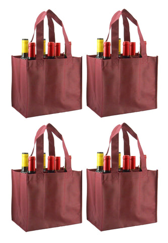 CYMA Reusable Wine Totes - Reusable 6 Bottle Totes Non-Printed- 4 Bag Set- Burgundy