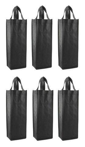 CYMA Reusable Wine Totes - Reusable Gift Bag, Single Bottle Tote- 6 Bag Set- Black