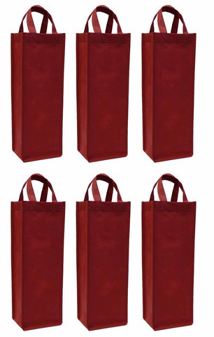 CYMA Reusable Wine Totes - Reusable Gift Bag, Single Bottle Tote- 6 Bag Set- Burgundy
