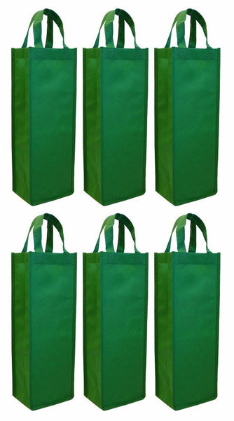 CYMA Reusable Wine Totes - Reusable Gift Bag, Single Bottle Tote- 6 Bag Set- Green