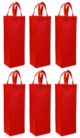 CYMA Reusable Wine Totes - Reusable Gift Bag, Single Bottle Tote- 6 Bag Set- Red