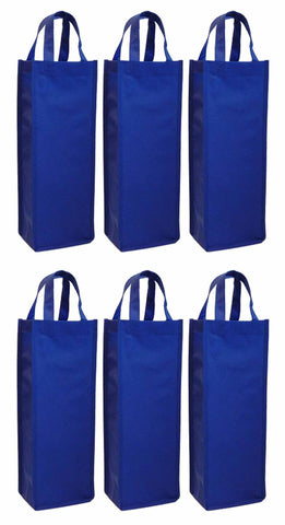 CYMA Reusable Wine Totes - Reusable Gift Bag, Single Bottle Tote-Royal Blue