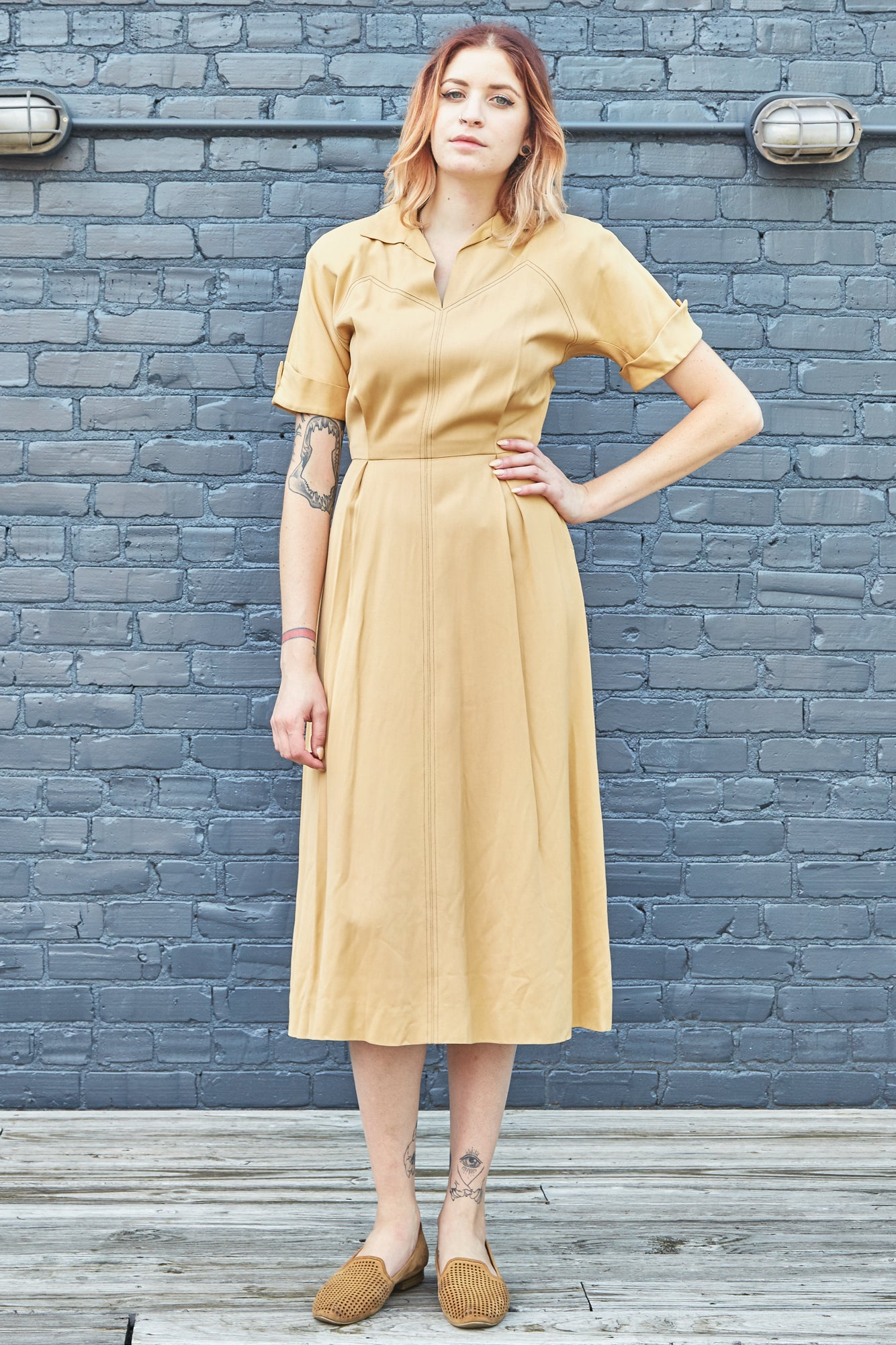 40s Contrast-Stitched Shirtwaist Dress