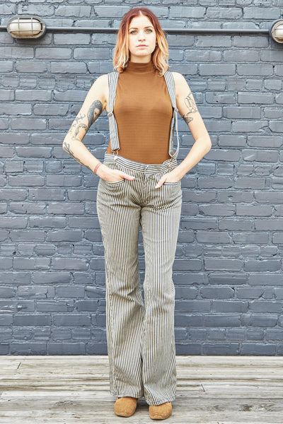 70s Contur Striped Jeans with Suspenders