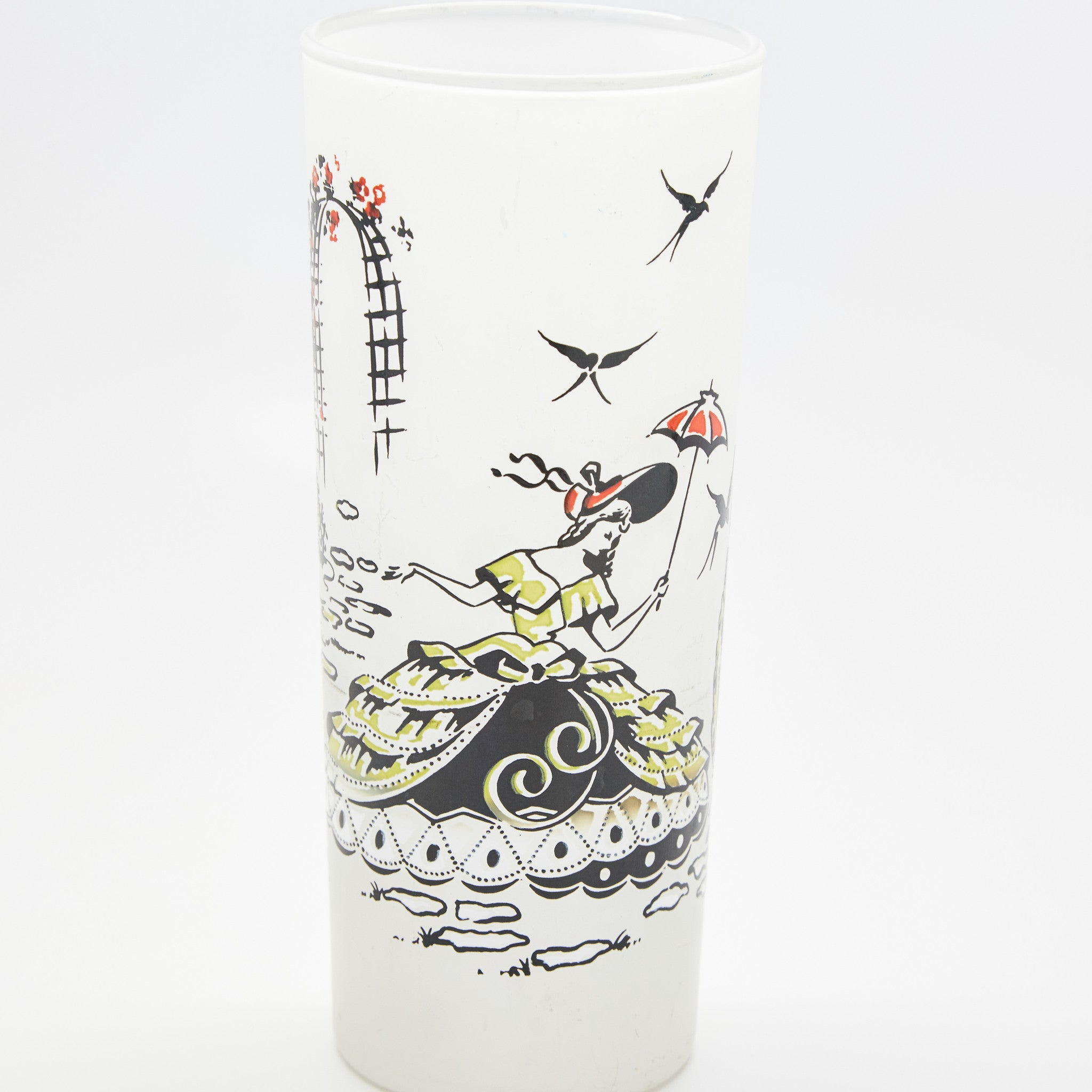 Frosted Glass Painted Ladies Drink Caddy