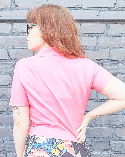 60s Hot Pink Bow Blouse