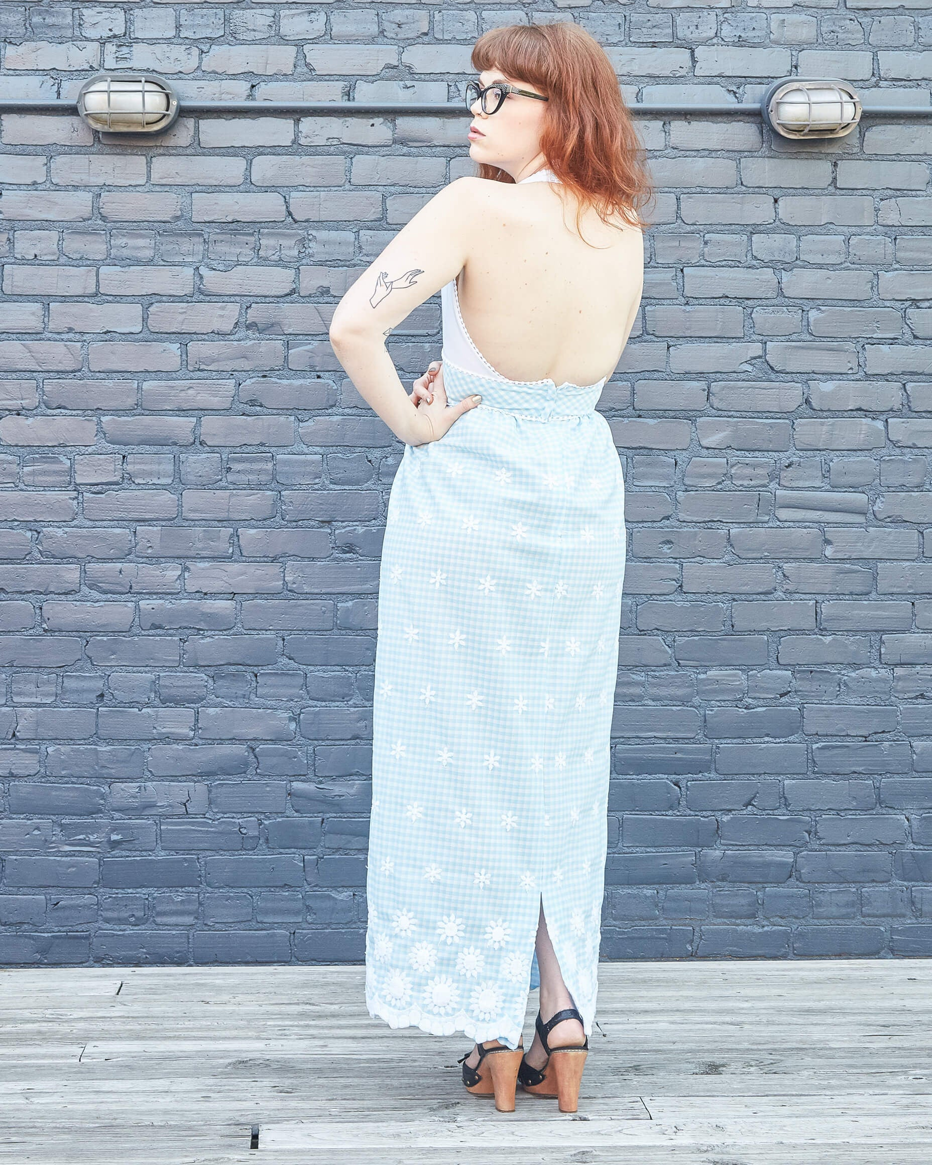 70s White and Blue Gingham Halter Maxi Dress
