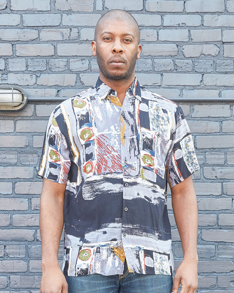90s Abstract Print Button Up Shirt