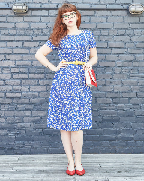 90s Blue and White Floral Shirtwaist Dress