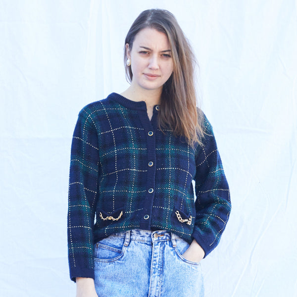 Blue/Green Plaid Fancy Cardigan
