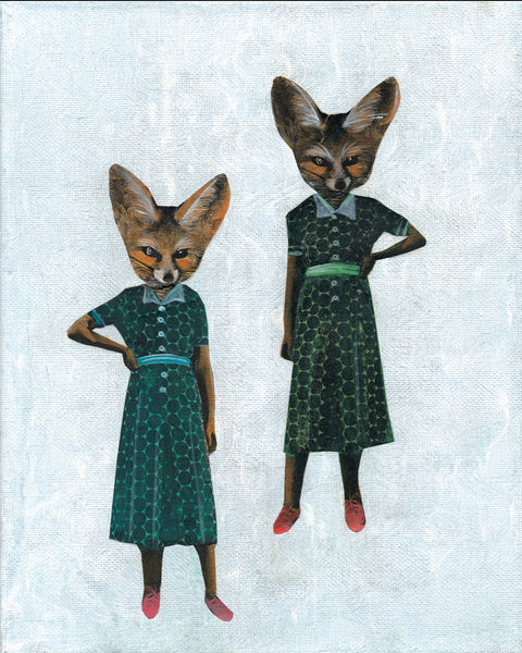 Two Fox Ladies Art Print