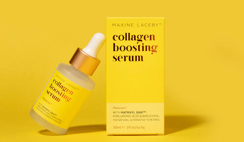 Absolute Collagen serum bottle propped against Absolute Collagen serum packaging on a yellow background