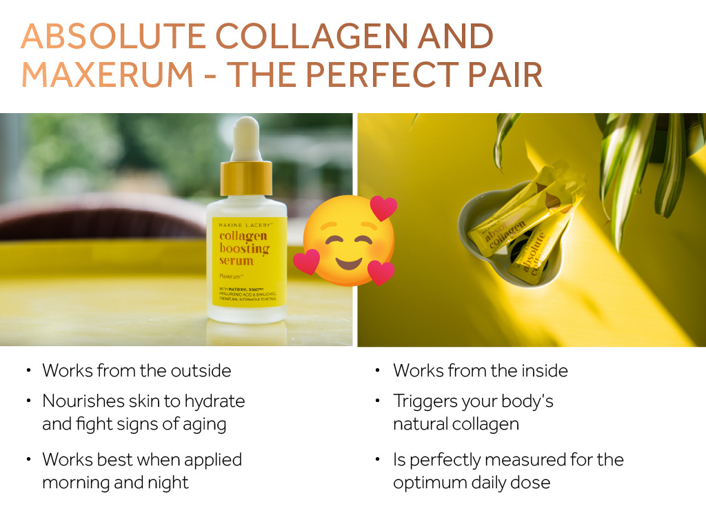 Photo of Maxerum and Absolute Collagen sachets alongside text describing the ways they work together for better skincare
