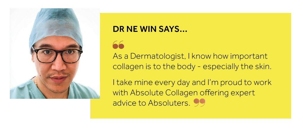 Image showing Dr Thurein Ne Win wearing surgical scrubs and looking into the camera, alongside a quote from him about how important collagen is for the skin