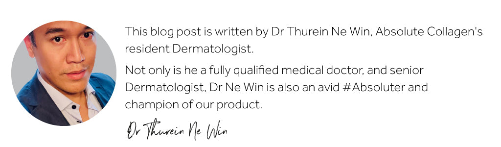 Photograph of an Asian man alongside description of his qualifications as Dermatologist
