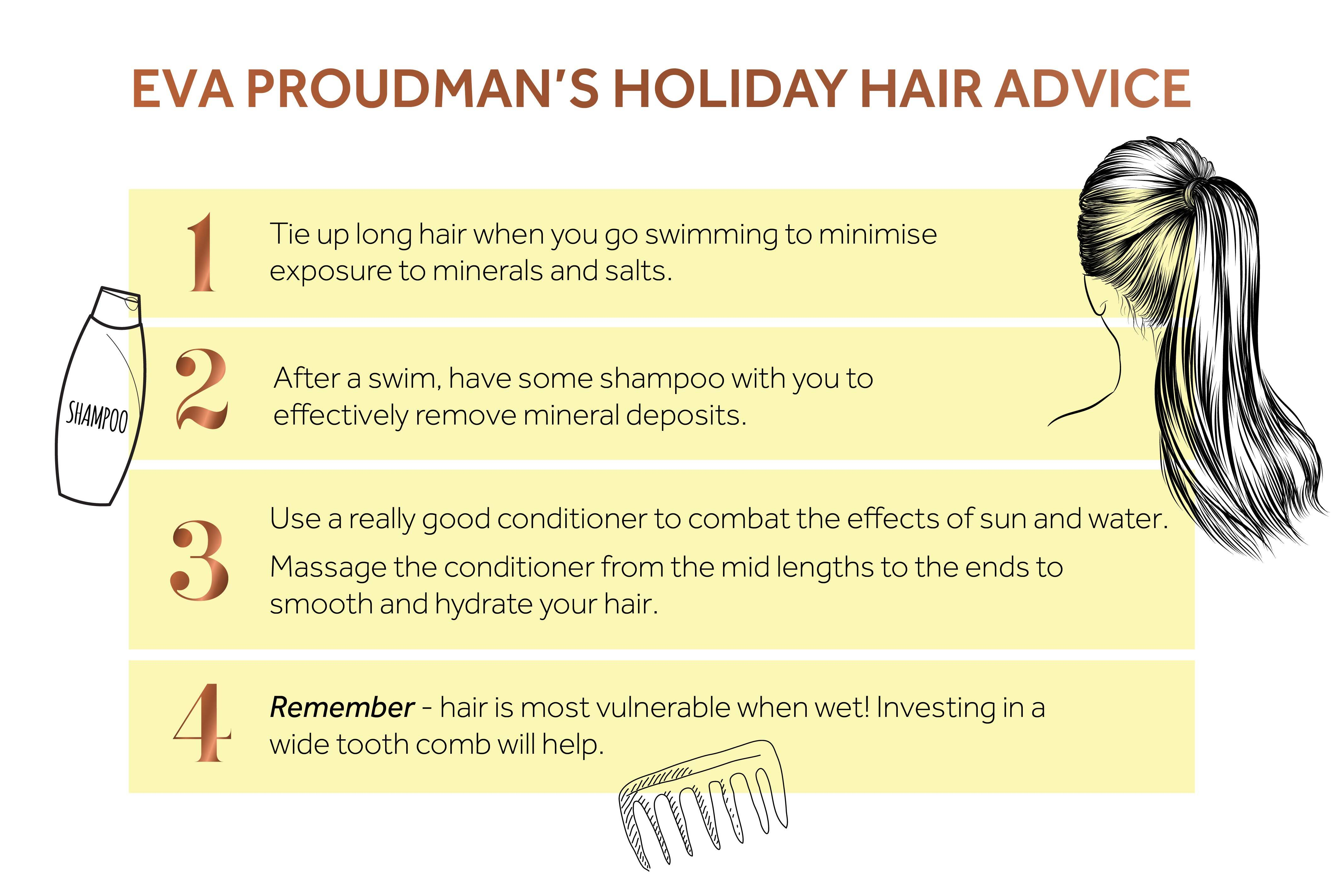 List showing four ways to protect hair while on holiday