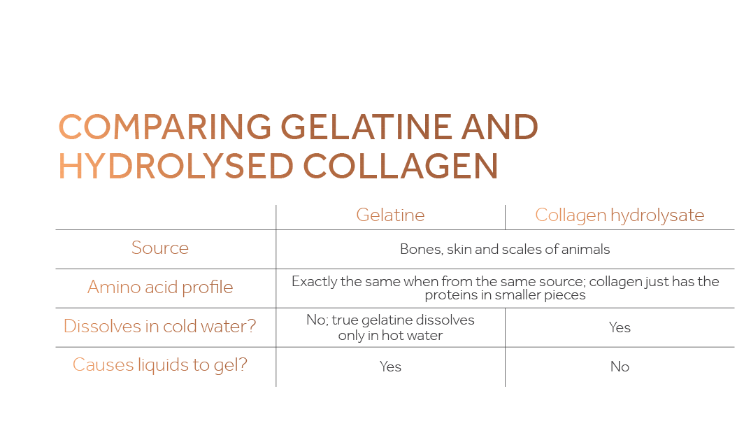 Graph comparing the properties of gelatine and hydrolysed collagen including the source and profile of each protein