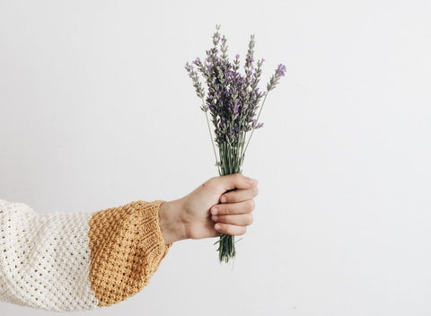 Woman holding bouquet of lavender against white all for article about quick sleep hacks.