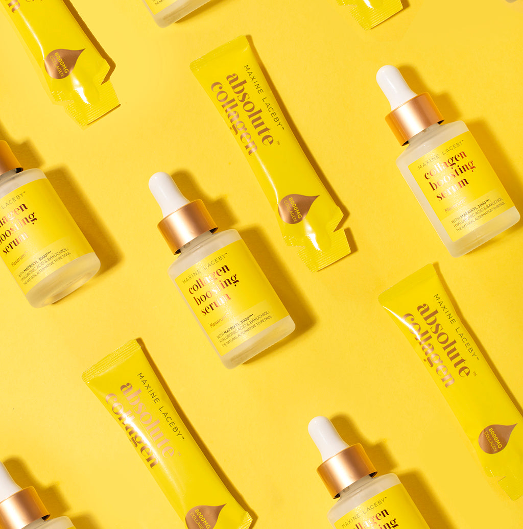 Image of yellow Absolute Collagen sachets and serum bottles on a yellow background