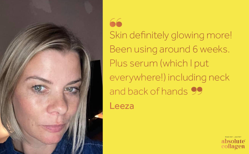 Photo of a white woman with blonde chin length hair looking at the camera, next to text on a yellow background describing how Maxerum serum and Absolute Collagen has helped her