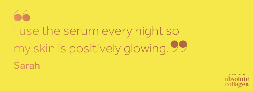 Copper text on a yellow background describing how Maxerum helps a customer's skin to retain a glowing appearance