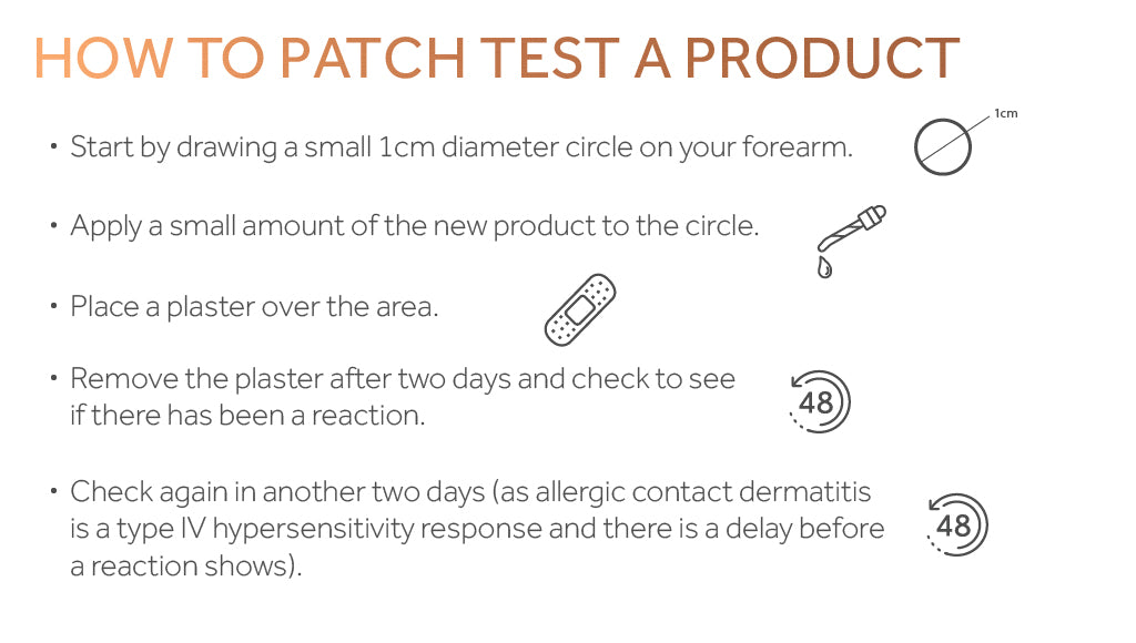 Graphic showing the steps to patch test a skincare product