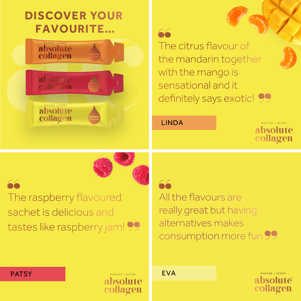 Image showing three reviews of the new Absolute Collagen flavours from Absoluters, alongside an image of all three sachets on a yellow background