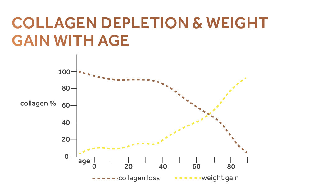 Graph showing the inverse relationship between collagen depletion and weight gain as we age