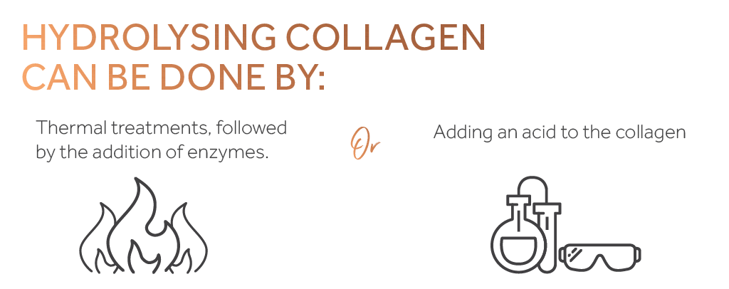 Graphic showing the two ways of hydrolysing collagen, symbolised by a flame on the left and science equipment on the right