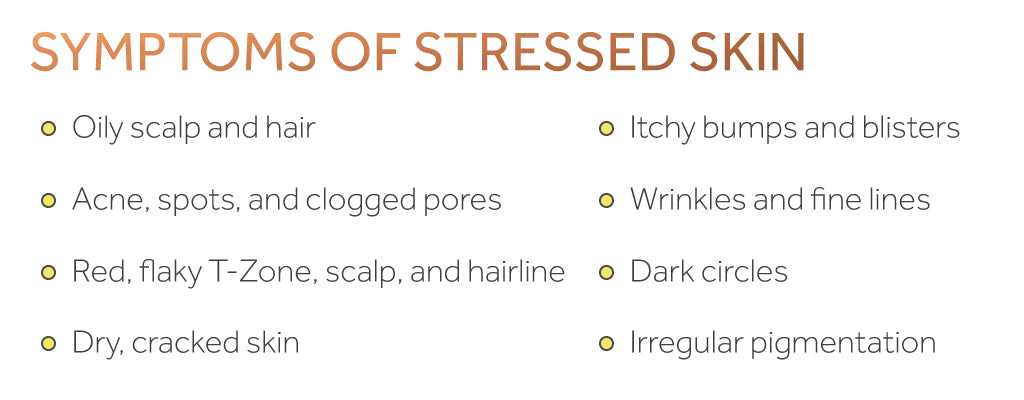 Graphic showing a list of symptoms of stressed skin