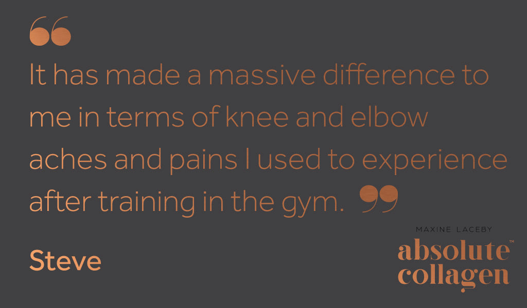 Quote describing how Absolute Collagen helped with pain after a gym workout