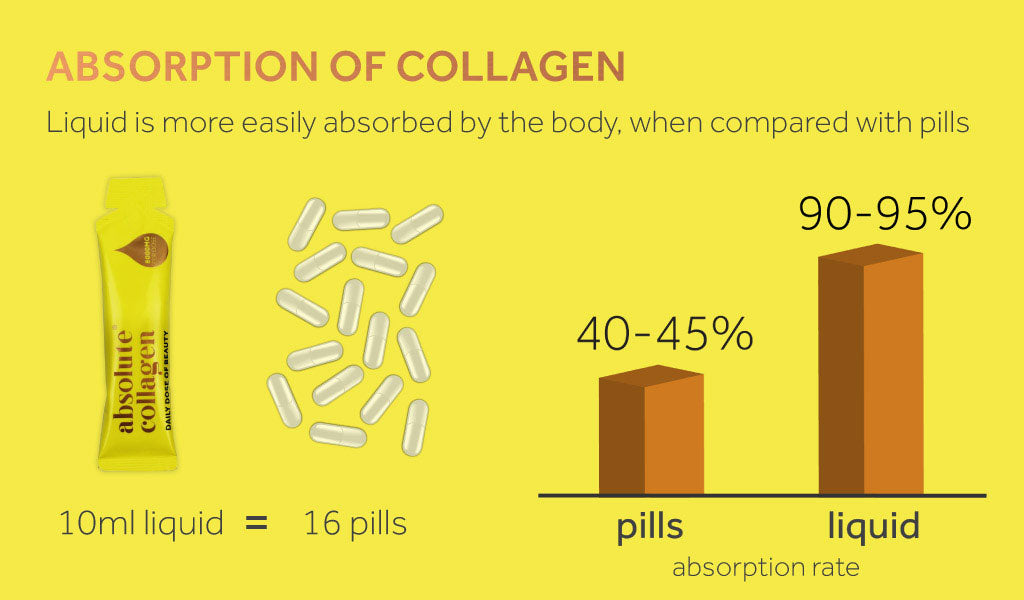 Graphic showing the absorption rate of Absolute Collagen.