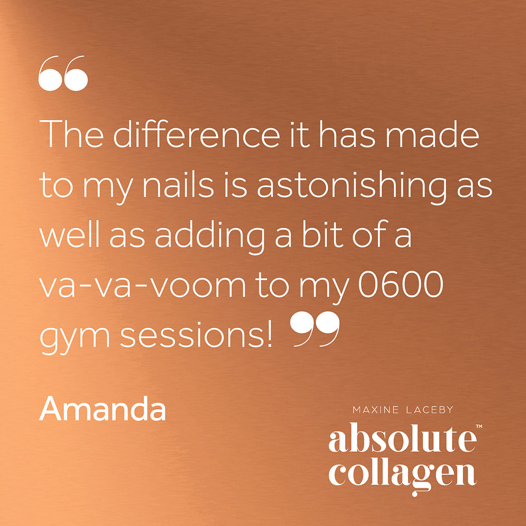 Quote describing how Absolute Collagen helped with 6 am gym sessions