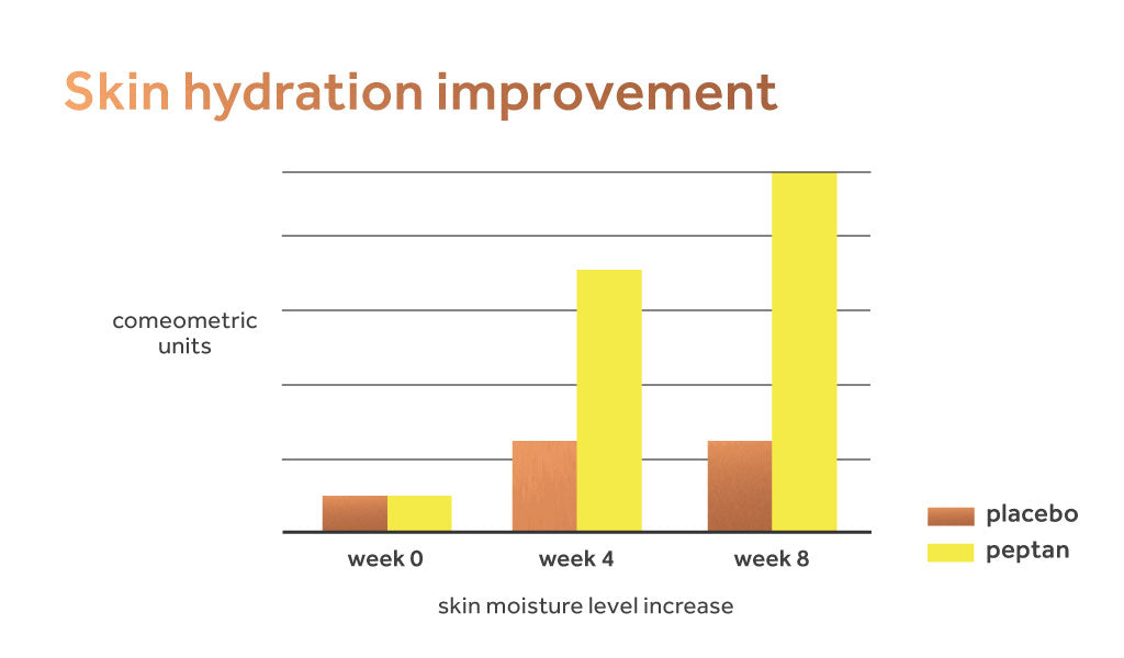 Graph showing improvement to skin hydration from taking peptan