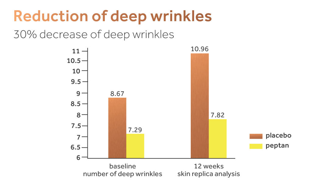 Graph showing the impact of peptan collagen on deep wrinkles compared to a placebo.