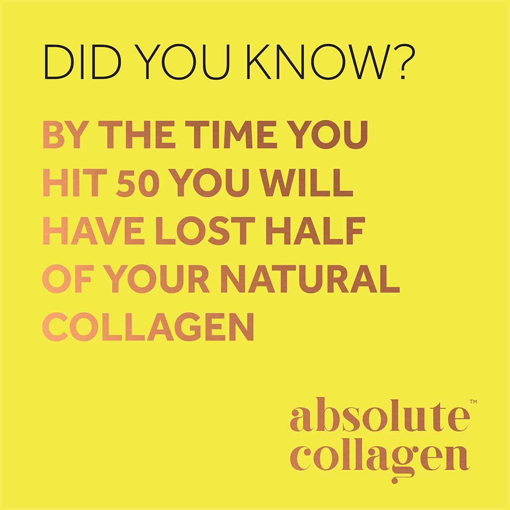 "Quote from Absolute Collagen on a yellow background: ""Did you know? By the time you hit 50 you will have lost half of your natural collagen""."