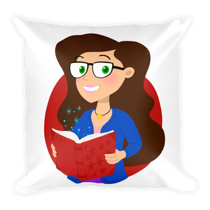Ms. Booksy - Square Pillow with Stuffing