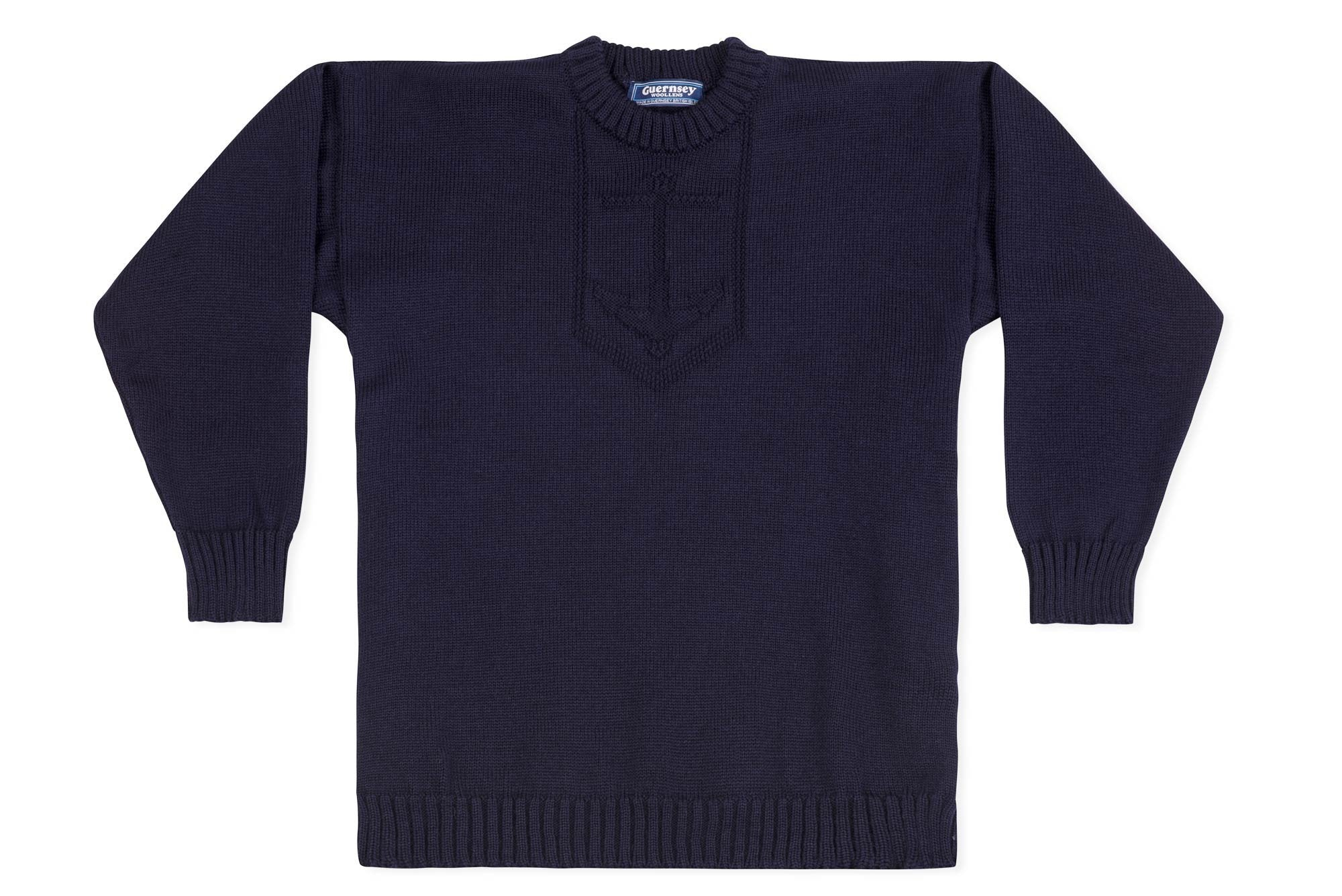 2d20c6cde33f1 Jersey Crew Neck Jumper With Anchor Motif In Navy-Guernsey Knitwear-Guernsey  Jumper