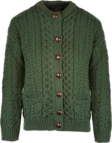 Traditional Aran Cardigan w/Pockets - NEW COLOR