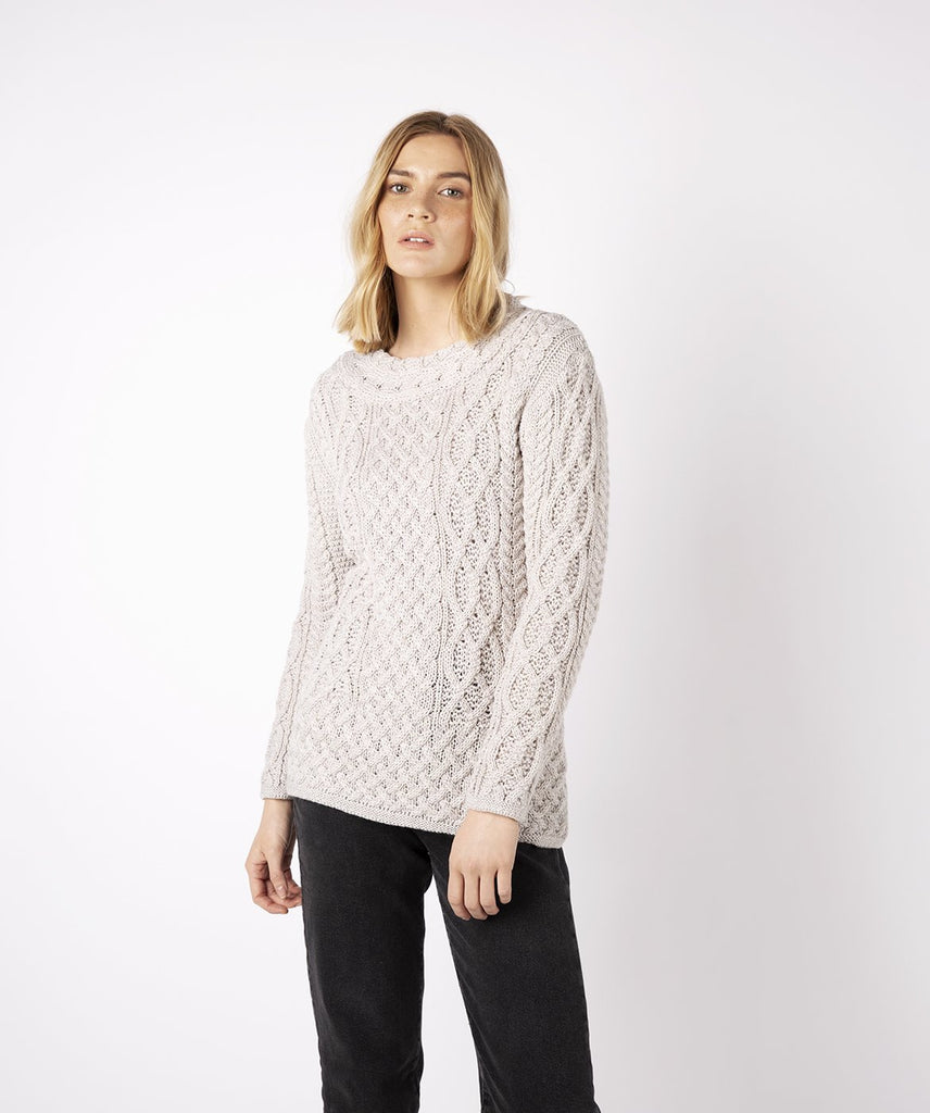 Spindle Aran Cable Neck Sweater