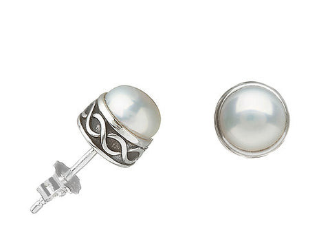 Celtic Knot Pearl Stud Earrings