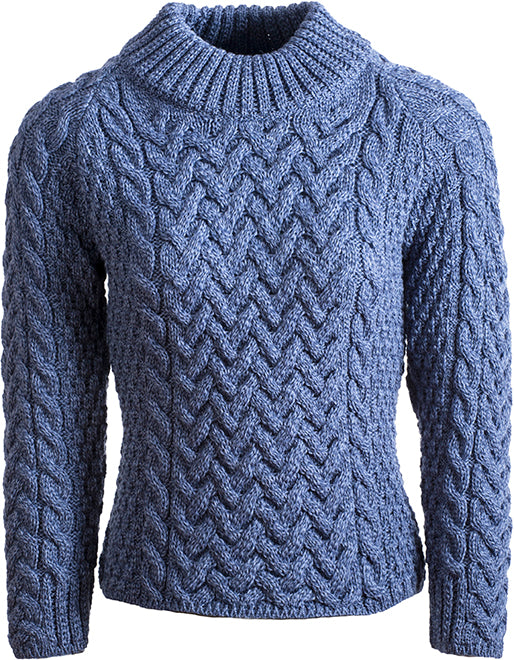 Shaped Crew Neck Aran Pullover
